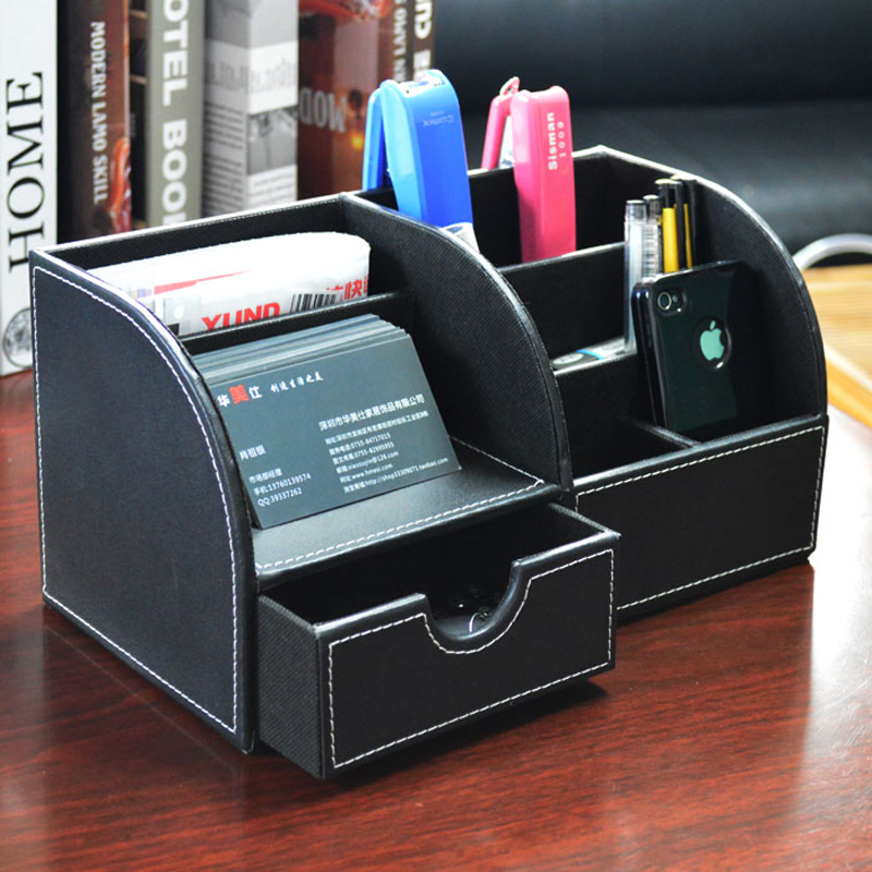 2018 Real Organizer Leather Multifunction Desktop Storage Box Pen Holder Upscale Office Stationery manager folders with 4000mah mobile power multifunction cument holder manager holders office supply work accessories