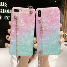 glitter rainbow foil shoulder chain strap tpu case for iphone 7 8 6s 6 plus X XR XS MAX cover fashion bling sequins soft