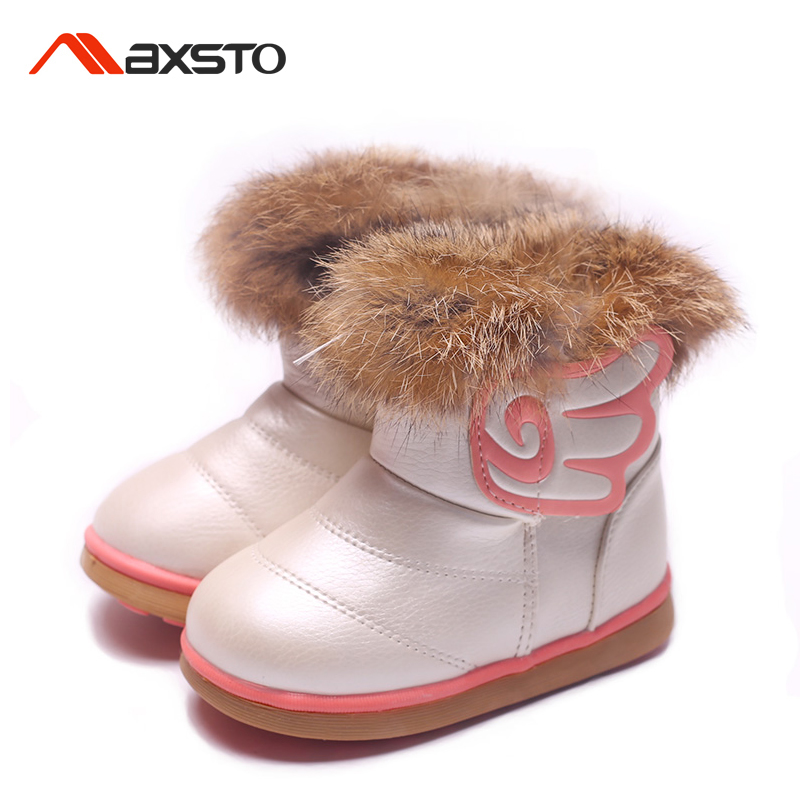 Girls Boots Kids Sonw Boots Winter Children Warm Shoes Rabbit Fur Plush Waterproof leather Fashion Baby Girl Princess Shoe 21-30