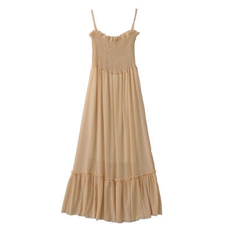 2019 summer new retro gentle long section high waist summer dress sleeveless sling chiffon solid color fairy women dress 2