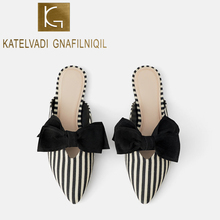 KATELVADI Women Slippers Striped Cotton Fabric Bowtie Female Mules Fashion Flats Shoes Pointed Toe Ladies Elegant Slipper K-450