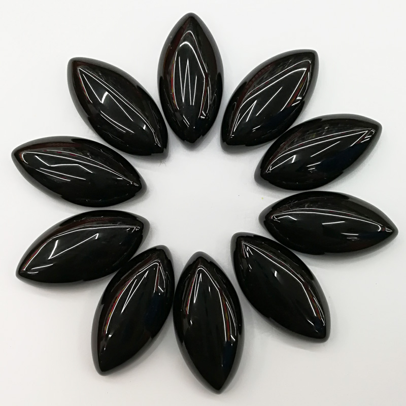 Wholesale 15*30*7mm natural black onyx stone beads marquise shape CAB CABOCHON teardrop loose beads Free shipping 12pcs/lot