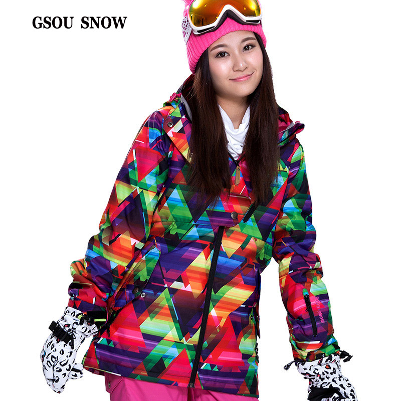 GSOU SNOW New Double Plate Ski Suit Female Super Warm Coltsfoot Windproof Waterproof Breathable Printing Outdoor Ski Suit
