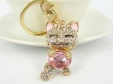 NX Lucky Cat Keychain Keyring Rhinestone Crystal Charm Pendant Key Bag Chain Gift New Fashion