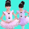Realizar día del niño de baile de verano chicas danza Ballet trajes del vestido tutu vestidos ropa para niños 4-8 años púrpura