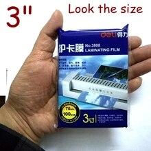 5 Bag/Lot 500 sheets Deli 3inch 70mic thermal laminating film 3