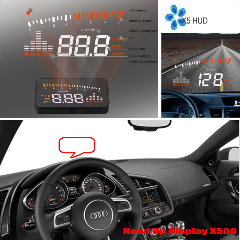 ФОТО Car HUD Head Up Display For Audi R8 2015 2016- Safe Driving Screen Projector Refkecting Windshield