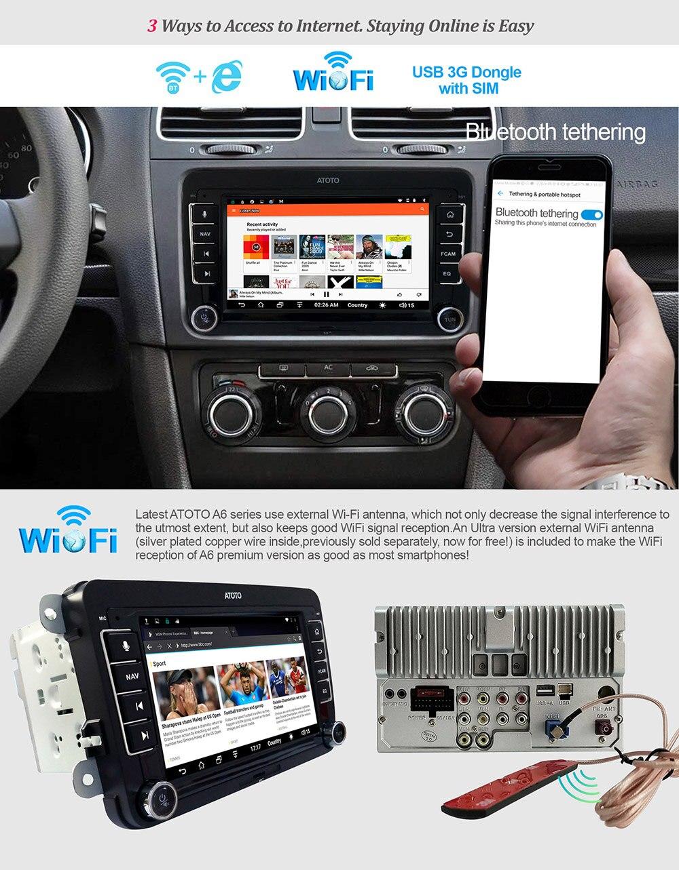 ATOTO A6 Android Auto GPS-Navigation Stereo/für Ausgewählte VW Volkswagen & Skoda/2 * Bluetooth/Premium a6YVW710PB/Auto Multimedia Radio