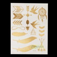 1pc Gold Silver Blue Metallic Tattoo Jewel Fashion YS-09 Feather Swallow Arrow Design Flash Waterproof Temporary Tattoo Sticker