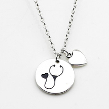 Nurse Heart Stethoscope Pendant Necklace Christmas Vet Graduation Gift Jewelry 10Pcs/Lot