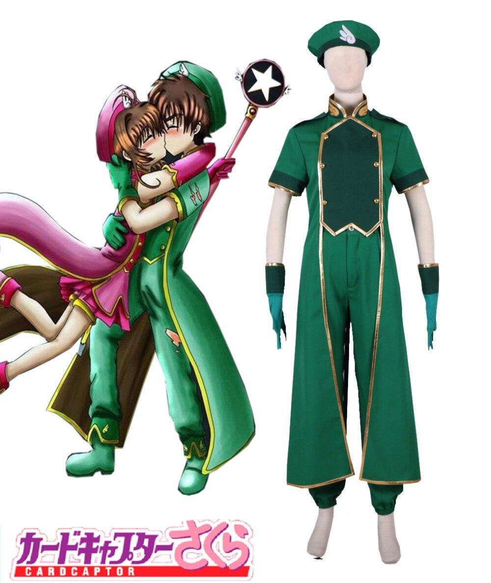 Livraison gratuite Cardcaptor Sakura Syaoran Li vert amoureux Costume Anime Cosplay Costume