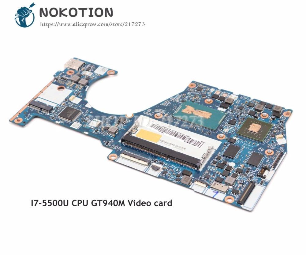 NOKOTION Para Lenovo Yoga 3 14 Laptop Motherboard PLACA PRINCIPAL I7-5500 NM-A381 BTUU1 CPU DDR3L 940 M 2 GB placa de Vídeo cartão