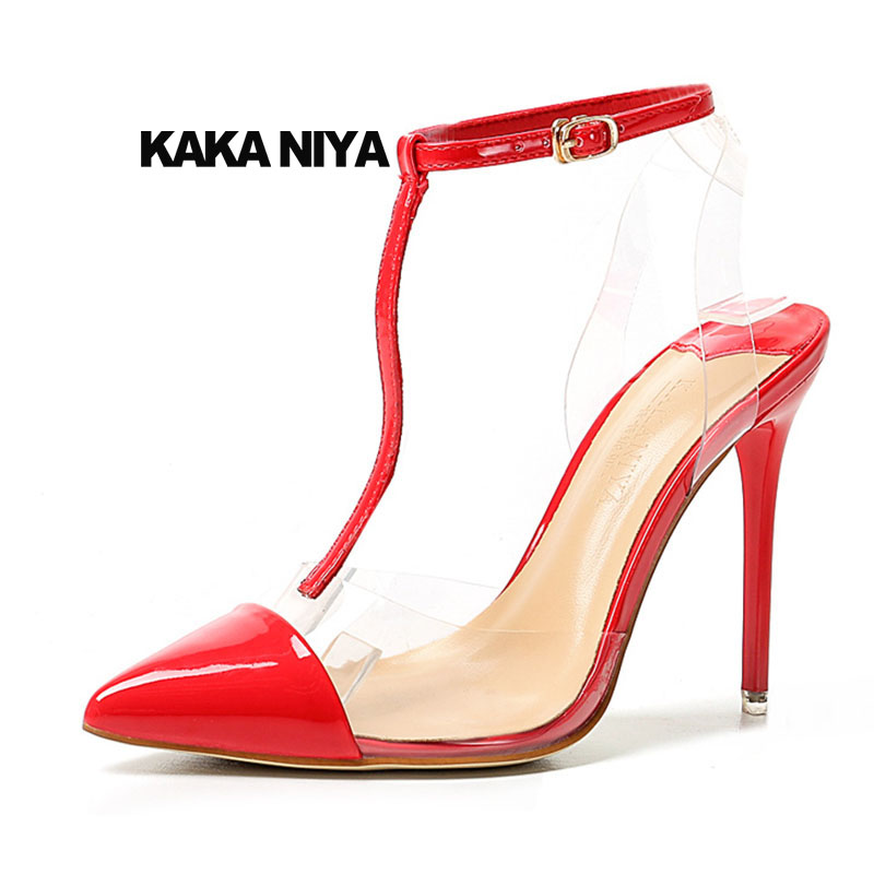 Shoes Transparent Pvc Ultra Thin Sexy Pumps T Strap Patent Leather Pointed Toe Ladies Fetish Stripper Red White High Heels