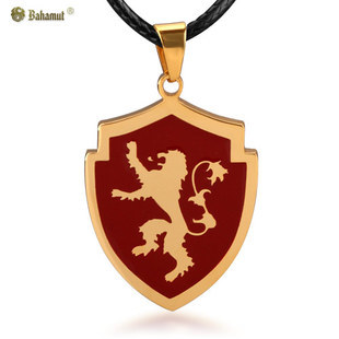 A Song of Ice and Fire Game of Thrones The House of Lannister Lion Badge Necklace Pendant - Titanium Steel