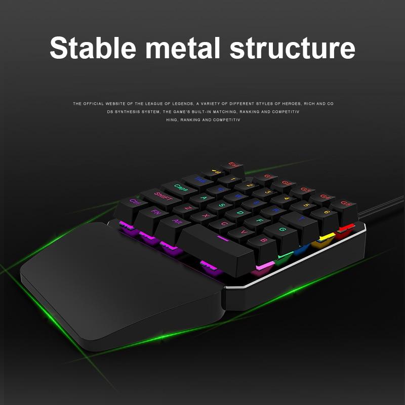 35 Keys Single Hand Gaming Keyboard USB Wired LED Backlight Anti Ghosting Keyboards LCC77