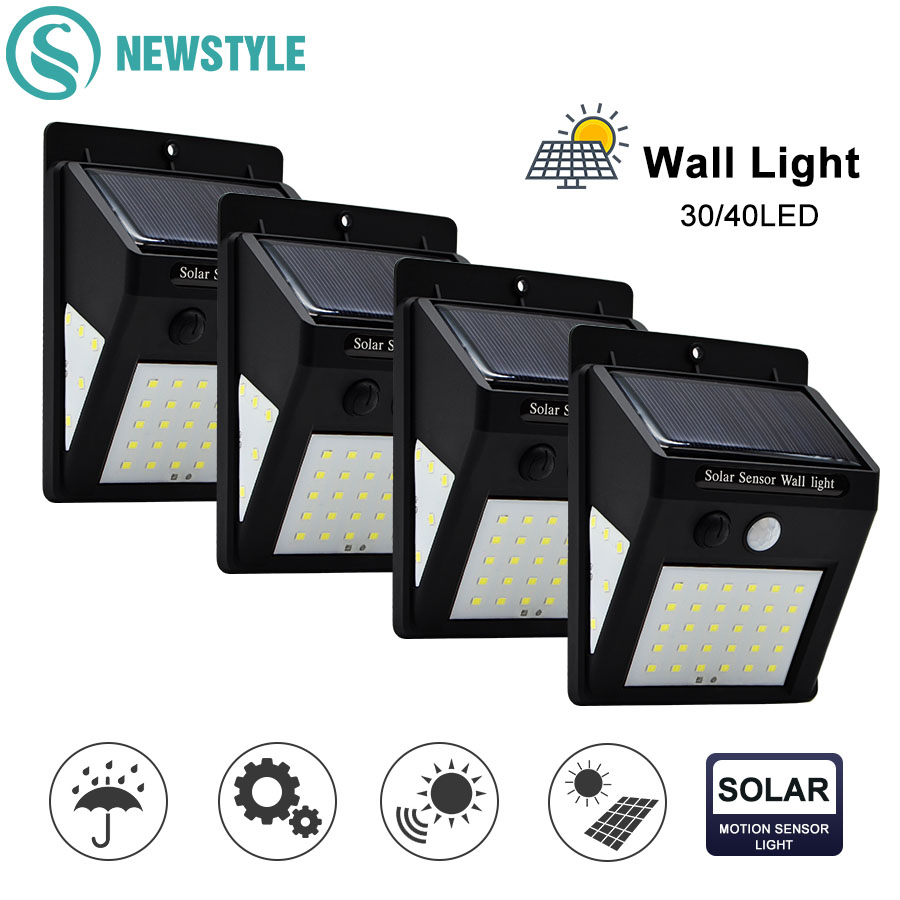 30/40 LED Outdoor Solar Wall Lamp PIR Motion Sensor Waterproof Light Garden Light Path Emergency Security Light 3 Sided Luminous