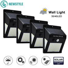30/40 LED Outdoor Solar Wall Lamp PIR Motion Sensor Waterproof Light Garden Light Path Emergency Security Light 3 Sided Luminous(China)