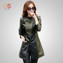 Fashion Women Patchwork Leather Jacket Mid length Lady Faux Leather Coat WithStand Collar Autumn Winter Outerwears