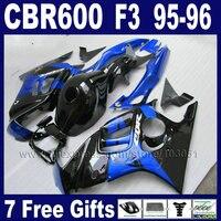 OEM Azul conjunto negro carenados de la motocicleta para Honda 1996 1995 CBR600 CBR600F F3 CBR600F3 96 95 kits del carenado motobike y tapa del tanque