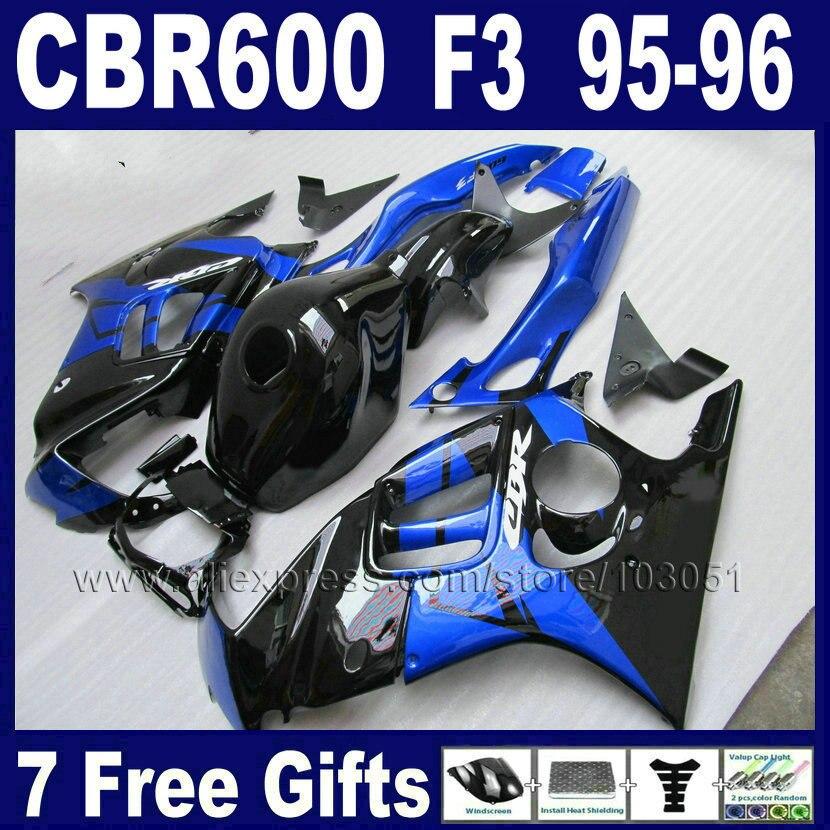 OEM синий черный мотоцикл обтекатели комплект для Honda CBR600F3 95 96 1995 1996 CBR600 F3 в CBR600F мотоцикл обтекатель комплекты & бак крышка