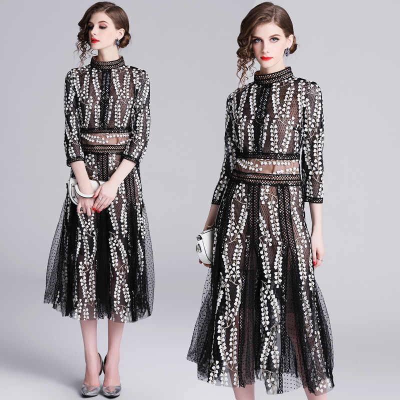 6f1b201f19b 2019 Designer black dot hollow out crochet lace embroidered dress women  elegant dress stand collar three