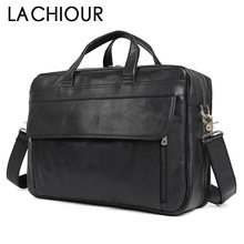 17 Inch Men Laptop Bag Large Genuine Leather Handbags Black Male Messenger Travel Mens  Briefcase Business Bags