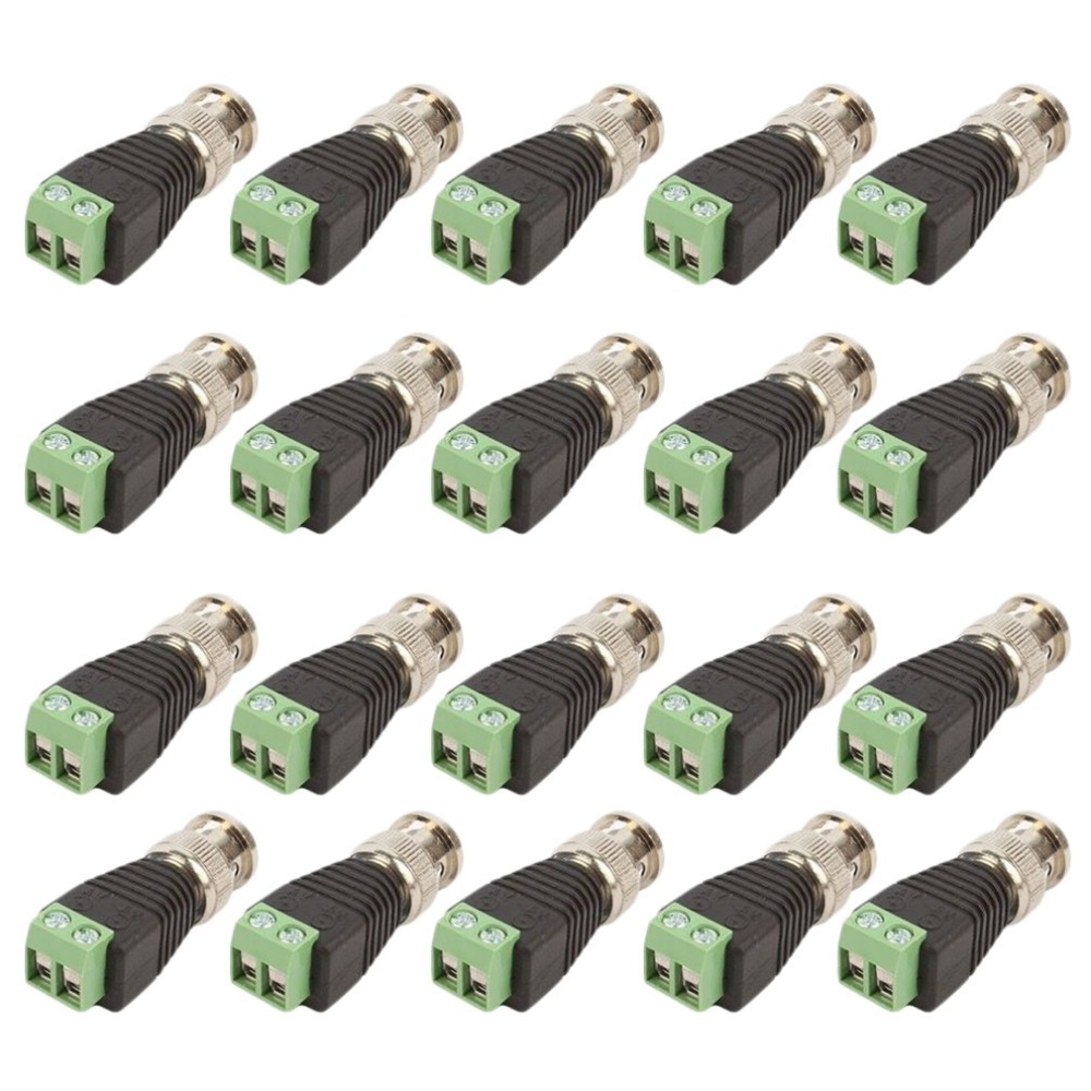 20Pcs lot Video Balun Connector Adapter BNC Plug For CCTV System Accessories Mini Coax CAT5 To Camera 20pcs lot n306ad n308ad to 252