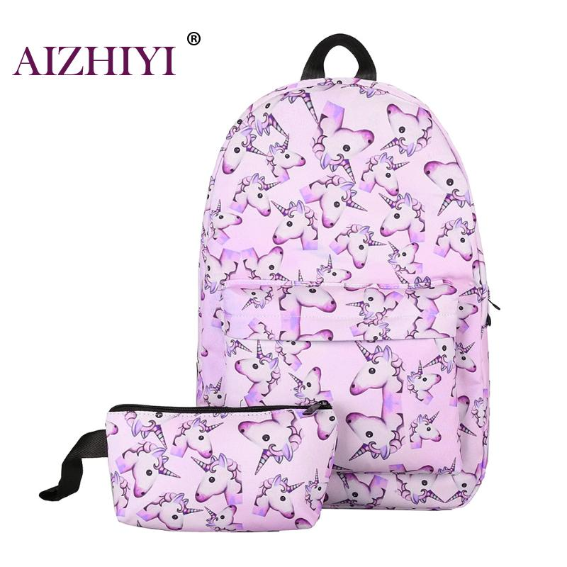 Unicorn 2Pcs Women Canvas Preppy Chic Casual Print Cat Backpack Canvas With Youth Schoolbags Makeup Bag