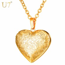 U7 Necklaces Flower Locket Heart Pendant & Chain Gold/Silver Color 2018 Valentine's Day Lover Gift Women Jewelry Necklace P1157