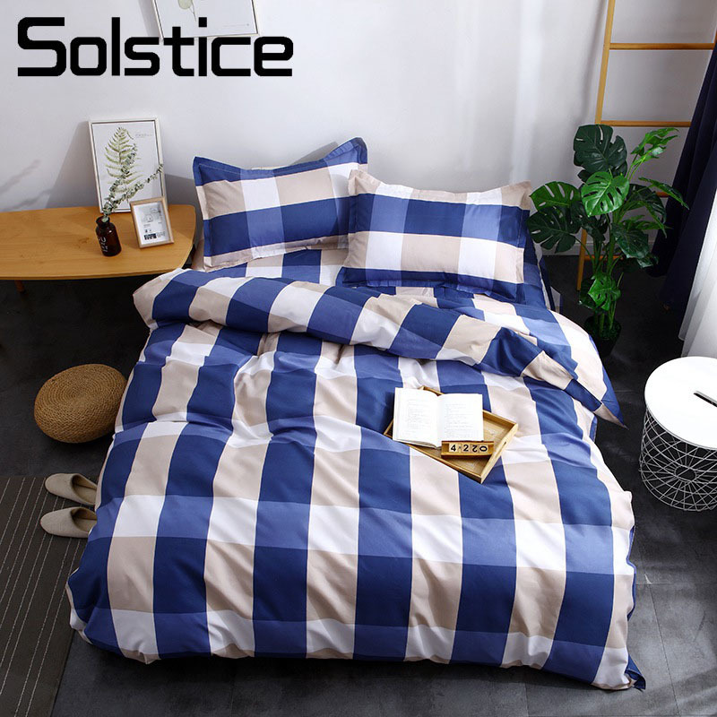 Solstice Home Textile Boy Teen Bedding Sets Plaid Lattice Blue Stripe Girl Adult Bedlinen Duvet Cover Pillowcase Flat Bed Sheet