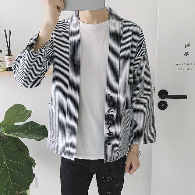 Новый Япония Кимоно Стиль Мужчины Хип-Хоп Кардиган Куртки Мужской Моды Полосатый Пальто Мужская Весна Осень Куртка