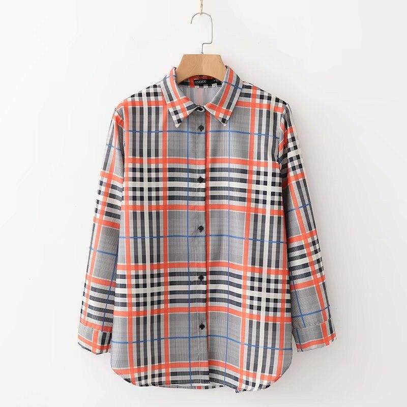 a1fcdfc719 Camisas a cuadros para mujer blusa holgada de manga larga Chic Top cuello  vuelto trabajo Oficina Mujer Tops Blusas otoño en Blusas y camisas de Moda  y ...
