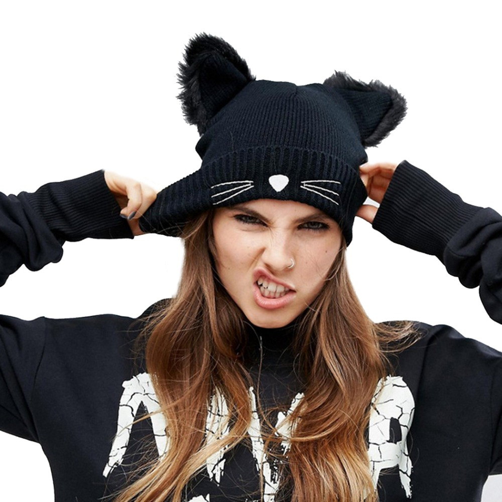 Women Winter Hat Harajuku Woolen Beanie Devil Horns Cat Ear Crochet Braided Knitted Fur Cap Noverlty Gir Snow Hat Bonnet Black