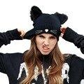 Mulheres Chapéu Do Inverno Harajuku Gorro de Lã Ouvido Chifres Do Diabo Gato Capot Chapéu de crochê Trançado Malha Ski Gorro De Pele Noverlty Menina preto