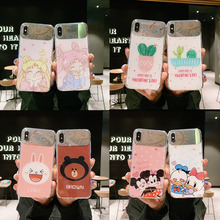 Creative Cartoon Cactus Makeup Mirror Phone Case for iPhone X XS XR XSmax 8 7 6 6S PluS Animal Drop Protection Cover