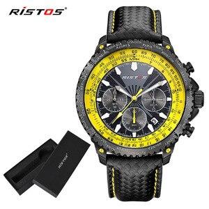 Ristos Function Sports Chronograph Man Army Watch Male Fashion Analog Quartz Watches Reloj Hombre Genuine Leather Clock 93006(China)