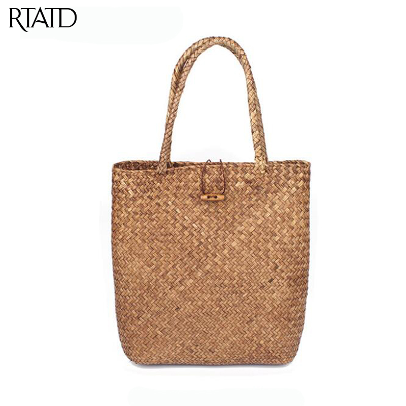 RTATD New Beach Bag for Summer chic Big Straw Bags Handmade Woven Tote Women Travel Handbags Fashion Shopping Hand Bags B010