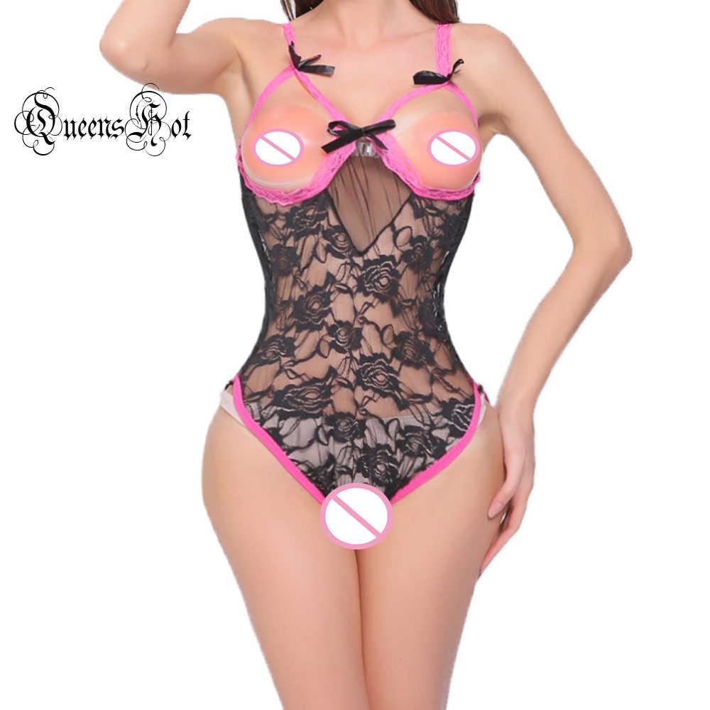 Сексуальный розовый кружевной открытый бюстгальтер бантик пикантное белье комбинация Тедди боди комбинезон сорочка Тедди Ночное белье секс истории
