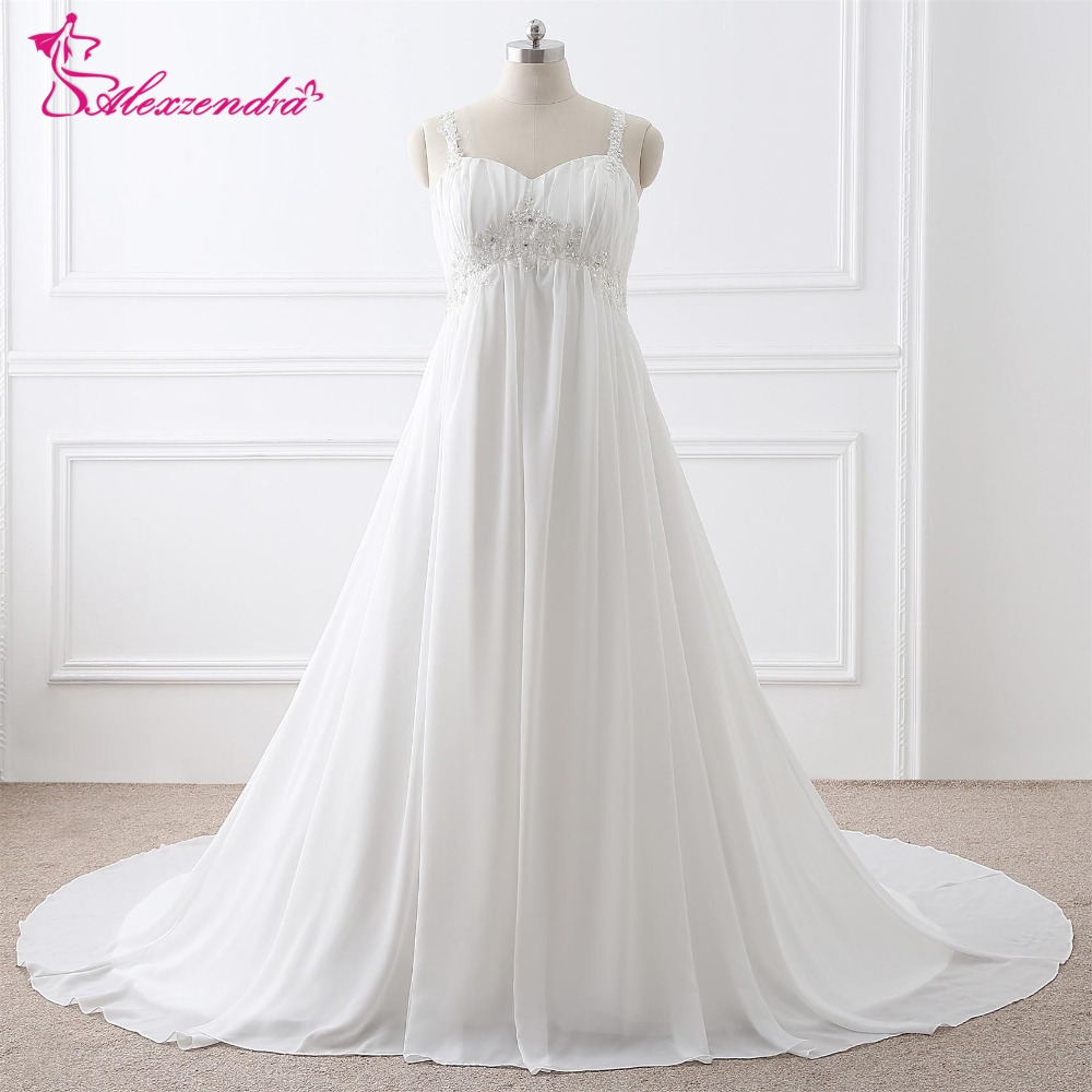US $70.4 20% OFF|Alexzendra Stock Dresses Plus Size A Line Chiffon Wedding  Dress Beaded Vintage Bridal Gowns Ready to Ship-in Wedding Dresses from ...