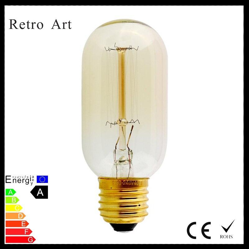 E27 40w Vintage Retro Filament Edison Tungsten Light Bulb: T45 Thomas Edison Tungsten Filament Light Bulb 40W Vintage