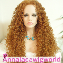 heat-resistant kanekalon synthetic deep wave heavy density lace front wig