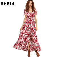 SHEIN Woman S Fashion 2017 Summer Boho Dresses For Woman Burgundy V Neck Short Sleeve Floral