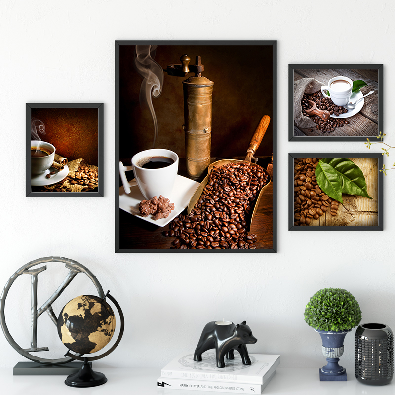 Vintage Coffee Bean Canvas Painting Wall Art Coffe House Posters ...