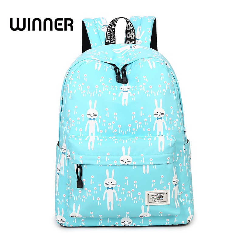 Women Backpack 2017 Fashion Cute Blue Rabbit Pattern Printing Large Capacity Girls Bookbag Korean Female Laptop