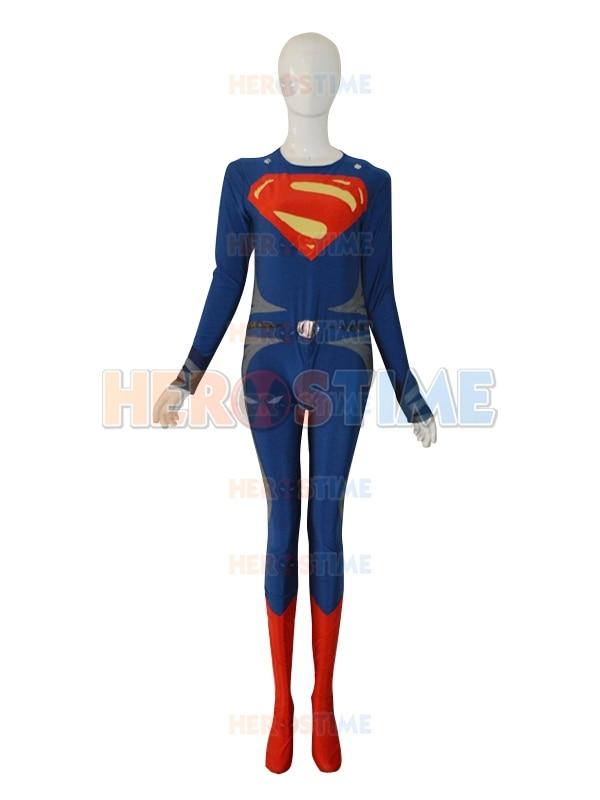 Deep Blue & Red Steel Superman Costume The New Lycra Spandex Superman - Carnavalskostuums - Foto 2