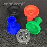 1PC Metal Hookah Shisha Charcoal Bowl Chicha Narguile 1pc Silicone Bowl Water Smoking Pipe Stove Burner Accessories
