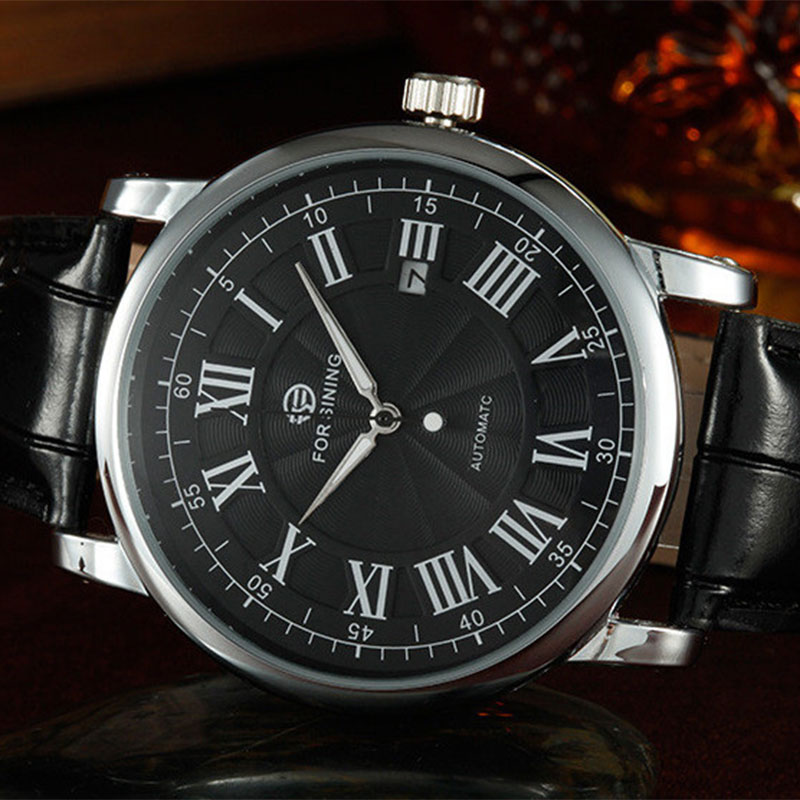 Forsining Men Automatic Watches Luxury Brand Male Business Dress Watch Vintage Roman Numerals Dial Leather Band Relojes Hombres roman numerals dial artificial leather watch