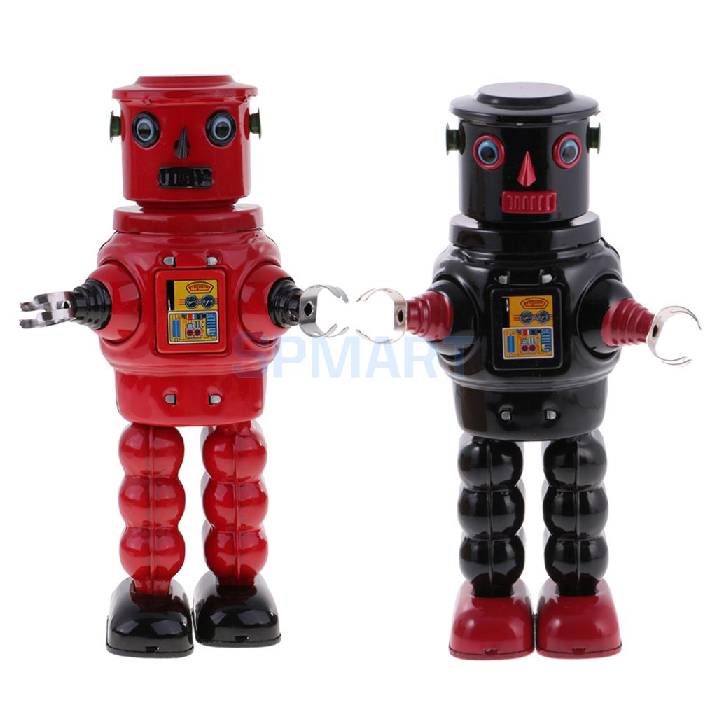 все цены на Set of 2 Vintage Retro Wind Up Clockwork Mechanical Walking Tin Planet Roby Robot Tin Toys Collectible Gifts