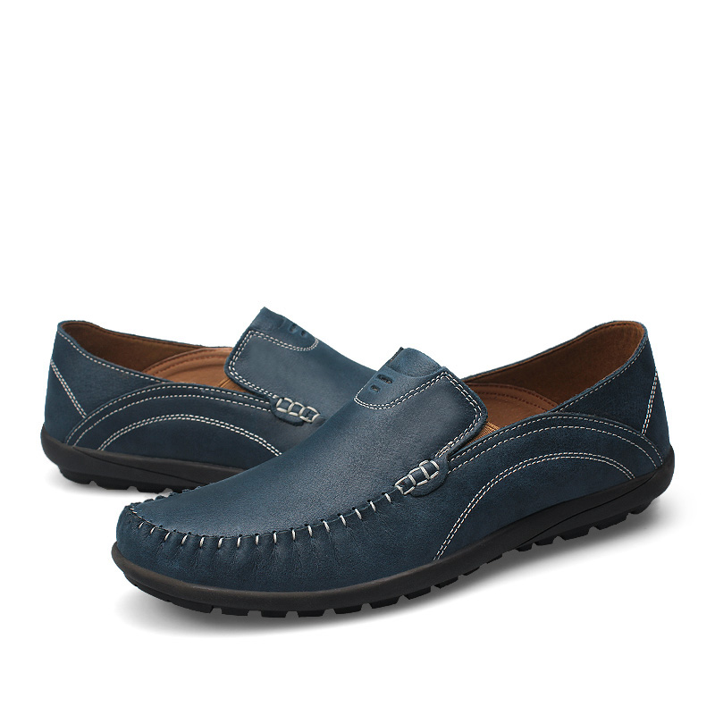 2019 fashion men 39 s casual shoes slip on loafers genuine leather brown amp blue driving shoe man breathable platform shoes for men in Men 39 s Casual Shoes from Shoes