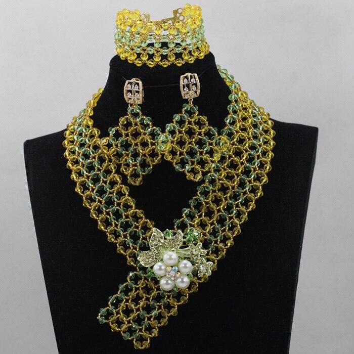 Attention! 2017 dernière clair jaune cristal femmes Costume bijoux ensemble de mode mariage bijoux ensemble pour fille livraison gratuite HX910
